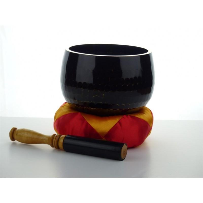 Klankschaal handgeslagen 16 cm zwart