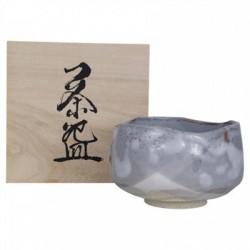 Matcha bowl Nezumi Shino in wooden box