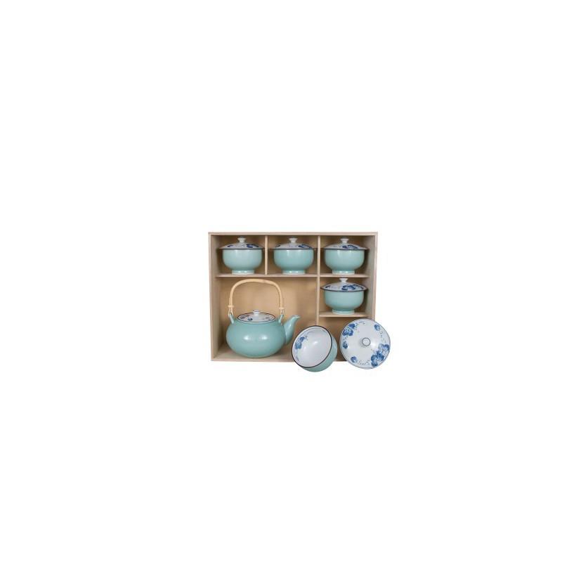 Budo theepot en kopjes in houten doos
