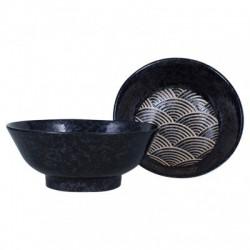 Ramen Bowl Seikaiha Kuro